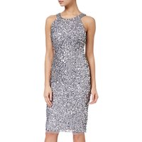 Adrianna Papell Short Bead Halter Dress, Silver