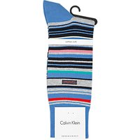 Calvin Klein Multi Stripe Cotton Rich Socks, Ultramarine/Multi