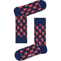 Happy Socks Strawberry Socks, One Size, Navy/Red