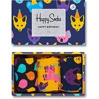 Happy Socks Birthday Party Animal Socks Gift Box, Pack of 3, One Size, Black/Yellow/Navy