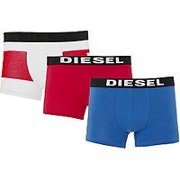 Diesel Damien Logo Trunks, Pack of 3, White/Red/Blue