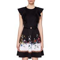 Ted Baker Shaelin Opulent Fauna Ruffle Bow Dress, Black/Multi