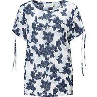 Collection WEEKEND by John Lewis Floral Split Shoulder T-Shirt, Blue/White