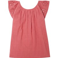 John Lewis & Partners Girls' Embroidered Woven Top, Pink