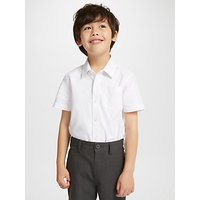 John Lewis and Partners Organic Cotton Short Sleeve School Shirt, Pack of 2, White