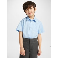 John Lewis & Partners Easy Care Short Sleeve School Shirt, Pack of 2, Blue