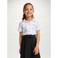 John Lewis & Partners Girls' Easy Care Open Neck Short Sleeve School Blouse, Pack of 2, White