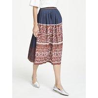 Weekend MaxMara Cotton Leaf Bird Print Skirt, Ultra Marine