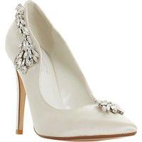 Dune Bestowed Jewelled Stiletto Heeled Court Shoes, Ivory Satin