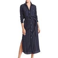 Polo Ralph Lauren Pinstripe Silk Shirt Dress, Navy