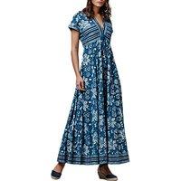 East Handblock Print Anokhi Maxi Dress, Indigo