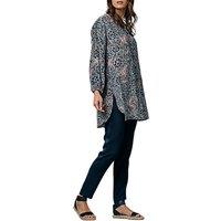 East Bali Print Silk Shirt, Indigo