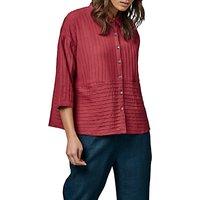 East Pintuck Detail Pocket Shirt, Red