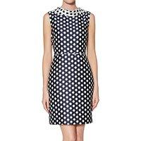 Gina Bacconi Angelica Spot Dress, Navy/White
