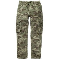 Fat Face Boys' Camouflage Print Cargo Trousers, Green