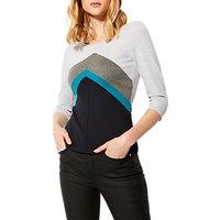 Karen Millen 3/4 Sleeve Ponte Top, Grey/Multi