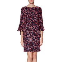 Gina Bacconi Hattie Print Dress, Navy/Coral
