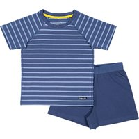 Polarn O. Pyret Baby Striped Top and Shorts Pyjama Set, Blue