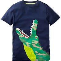 Mini Boden Boys' Big Crocodile Applique T-Shirt, Navy
