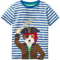 Mini Boden Boys' Pet Pirate Applique T-Shirt, Blue