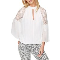 Damsel in a Dress Penn Pleat Blouse, Cream/Ivory