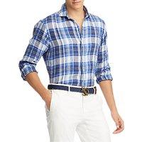 Polo Ralph Lauren Long Sleeve Check Linen Shirt, Persian Blue/White Multi