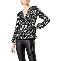 Karen Millen Floral Print Wrap Blouse, Black/Multi