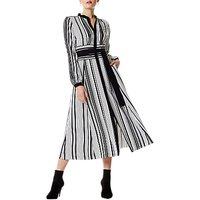 Karen Millen Graphic Stripe Midi Dress, Black/White