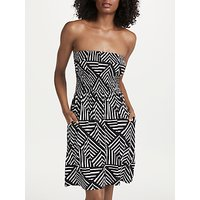 John Lewis & Partners Diamond Geo Print Bandeau Jersey Dress, Black/multi