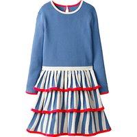 Mini Boden Girls' Circus Stripe Knitted Dress, Blue