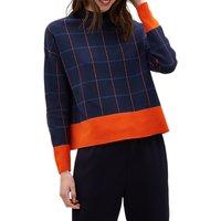 Jaeger Merino Wool Cropped Sweater, Navy/Check