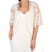 Chesca Scallop Sleeve Lace Shrug, Ivory