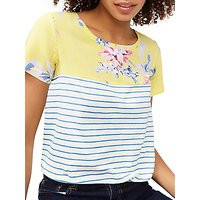 Joules Short Sleeve Floral Stripe Jersey Top, Lemon/White