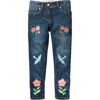 Mini Boden Girls' Embroidered Slim Fit Jeans, Blue