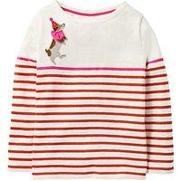 Mini Boden Girls' Jolly Fun Breton T-Shirt, Red