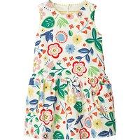 Mini Boden Girls' Corduroy Floral Pinafore Dress, Ecru/Multi