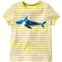 Mini Boden Girls' Sequin Colour Change T-Shirt, Yellow