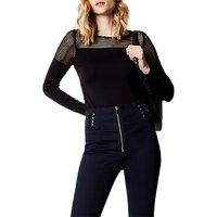 Karen Millen Mesh Jersey Top, Black
