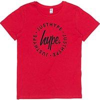 Hype Boys Script Circle Printed Logo T-Shirt, Red