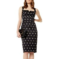 Karen Millen Sprig Satin Dress, Black/Multi