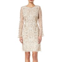 Adrianna Papell Beaded Short Dress, Biscotti