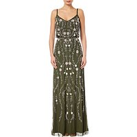 Adrianna Papell Petite Floral Beaded Blouson Gown, Olive/Multi