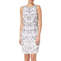 Adrianna Papell Halter Floral Beaded Cocktail Dress, Serenity