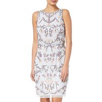 Adrianna Papell Petite Halter Floral Beaded Cocktail Dress, Serenity