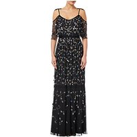 Adrianna Papell Beaded Long Dress, Black