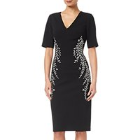 Adrianna Papell Crepe Embroidered Dress, Black