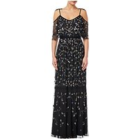 Adrianna Papell Petite Beaded Long Dress, Black