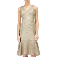 Adrianna Papell Short Metallic Lace Dress, Gold