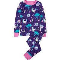 Hatley Girls' Tea Party Organic Cotton Pyjamas, Purple
