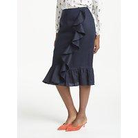 Boden Neve Pure Linen Skirt, Navy